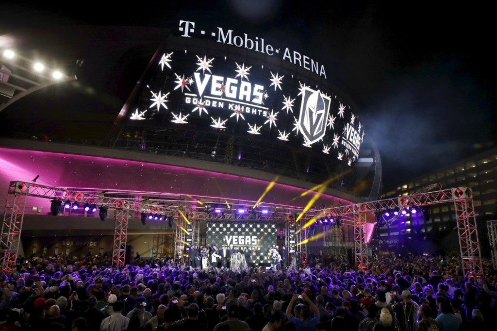 The team name is displayed on a screen during an event to unveil the name of Las Vegas' National Hockey League franchise, Tuesday, Nov. 22, 2016, in Las Vegas. The team will be called the Vegas Golden Knights. (AP Photo/John Locher)