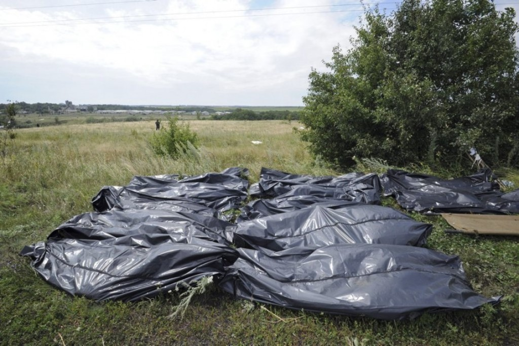 Bodies of victims wrapped in bags wait to be collected at the site of the crash of a Malaysia Airlines plane carrying 298 people from Amsterdam to Kuala Lumpur in Grabove, in rebel-held east Ukraine, on July 19, 2014. Ukraine and pro-Russian insurgents agreed on July 19 to set up a security zone around the crash site of a Malaysian jet whose downing in the rebel-held east has drawn global condemnation of the Kremlin. Outraged world leaders have demanded Russia's immediate cooperation in a prompt and independent probe into the shooting down on July 17 of flight MH17 with 298 people on board. AFP PHOTO / DOMINIQUE FAGET