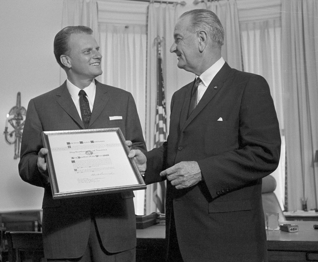 Billy Graham et le président Lyndon Johnson à Washington, en mai 1966