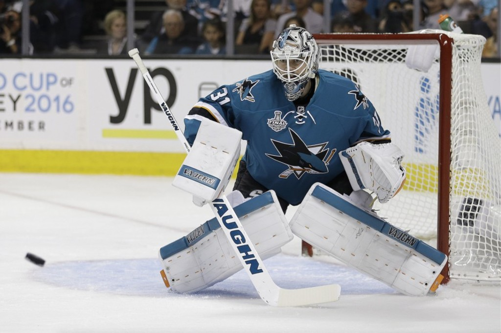 <p>Martin Jones, gardien des Sharks</p>