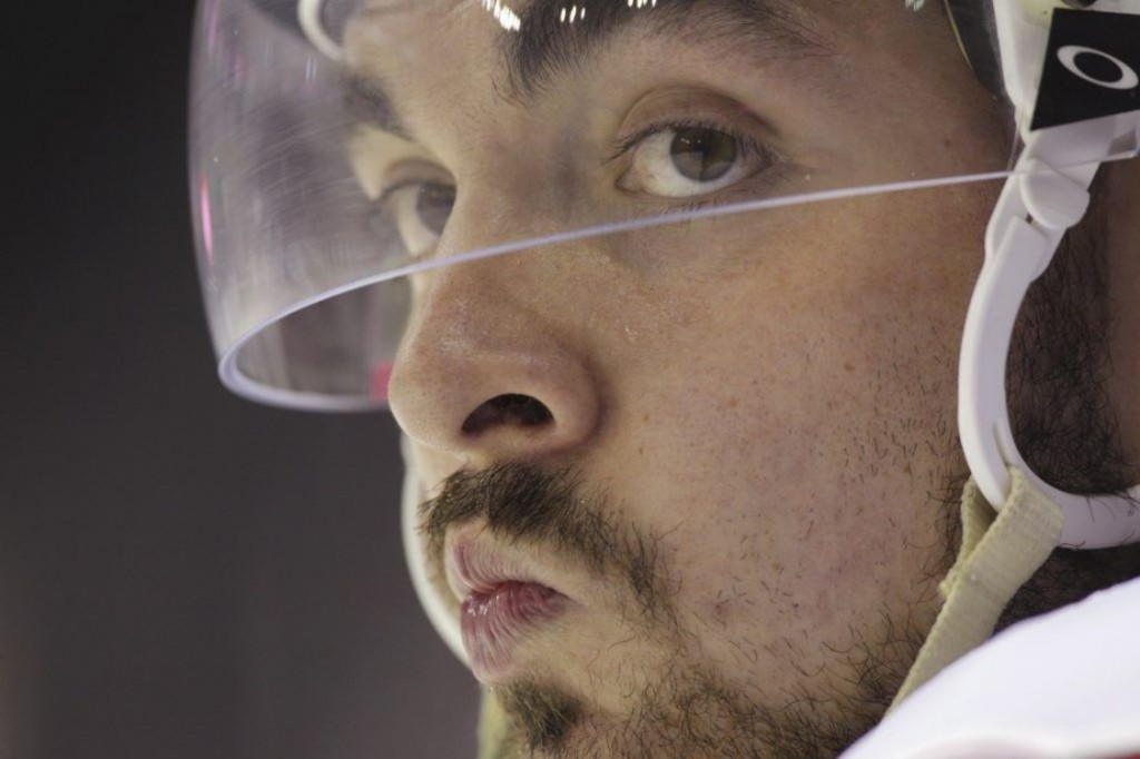 Ottawa Senators' Nick Paul looks on from the bench during a game against the Montreal Canadiens at the 2016 National Hockey League rookie tournament in London, Ont. on Sunday, Sept. 18, 2016. THE CANADIAN PRESS/Dave Chidley