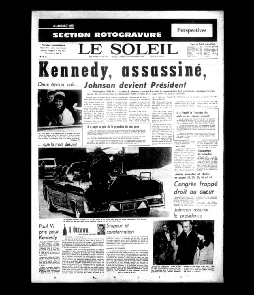 <strong>23 novembre 1963 </strong>«KENNEDY, ASSASSINÉ, ...»<strong><em></em></strong>