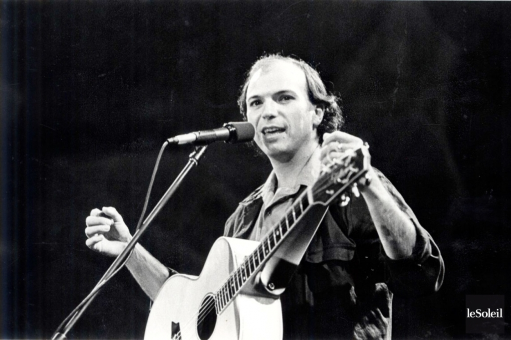 <p>Michel Rivard en spectacle, en 1984</p>