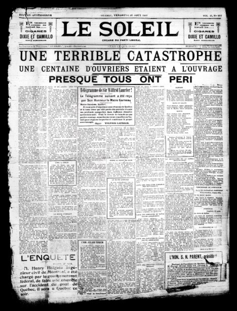 <strong>30 août 1907 </strong>«UNE TERRIBLE CATASTROPHE»<strong><em></em></strong>