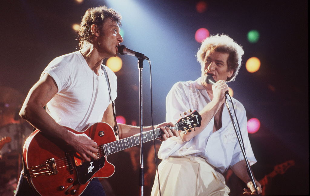 Johnny Hallyday et Eddy Mitchell, en avril 1982